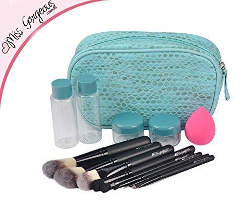 Miss Gorgeous Beauty Care Lot de 14 pinceaux de maquillage pour sac à main Bleu