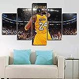 Airxcn NBA-Stern Schwarz Mamba Kobe Bryant 5 Panel Leinwand