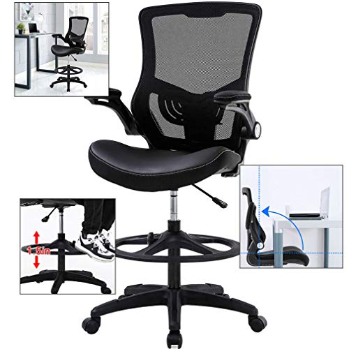 Drafting Chair for Standing Desk,Tall Office Desk Chair Adjustable Height Ergonomic Mid-Back Mesh Drafting Stool with Flip Up Arms Foot Rest Lumbar Support,Computer Executive Rolling Chair,Black