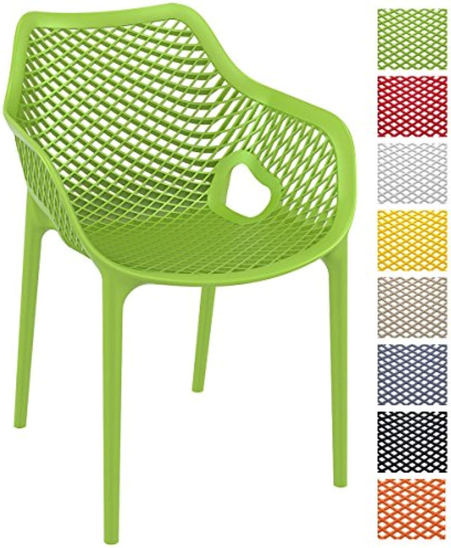 CLP XL-Bistrostuhl AIR aus Kunststoff I Stapelstuhl AIR mit Einer Sitzhhe von 44 cm I Outdoor-Stuhl mit Wabenmuster I erhltlich Grün