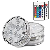 Hitopin Submersible LED Lights Remote Controlled Battery Operated Wireless Multicolor Waterproof Underwater Submersible Led Lights for Pond, Party,Wedding, Vase Base, Christmas Home Lighting