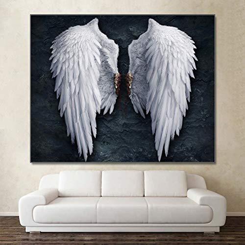 GUDOJK Dekorative Malerei Engelsflügel Wand Poster Drucke Wandkunst Leinwand Gemälde Flügel Pop Art Schwarz Weiß Wandbild Für Wohnzimmer-60x80cm