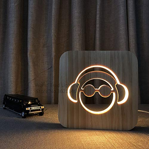 N/A Bedside Table Lamps,3D LED Wood Light DJ Headphones Slide Studio Monitor Headphones Hi-Fi Music Headphones Party Decoration Gifts