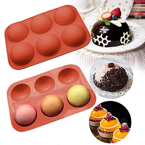 2PCS Silicone Molds For Baking,Chocolate Mold,6 Holes Round Silicone Baking Mold,Half Ball Sphere Silicone Cake Mold Muffin Chocolate Cookie Baking Mould Pan ( brick red)