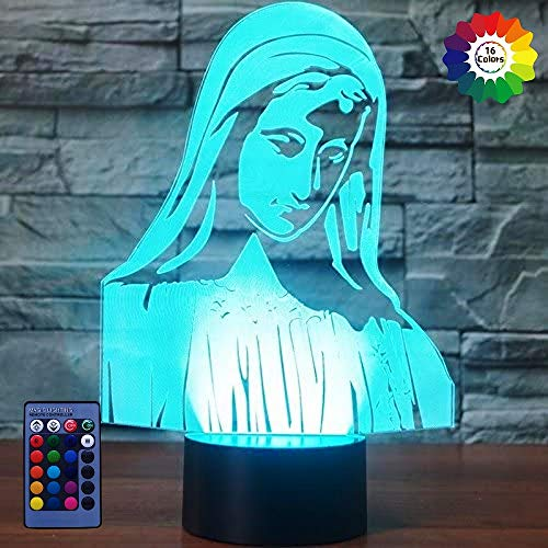 HPBN8 Ltd Optical Illusion 3D Virgin Mary Night Light USB Powered Remote Control Touch Switch LED Decor Table Desk Lamps 7/16 Colors Changing Children Kids Toy Christmas Xmas Brithday Gift