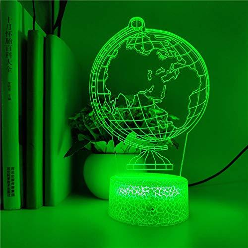 Lámpara de ilusión 3D Luz de noche LED 7 colores Globo terráqueo creativo Holograma Decoración de dormitorio Lámpara de mesa USB Regalo de cumpleaños Regalo de vacaciones de cumpleaños Niño niña