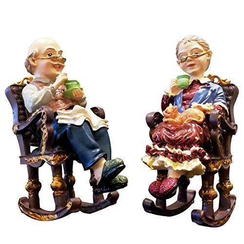 WgYoo Skulpturen Dekoartikel Amerikanischen Großeltern Sitzen Schaukelstuhl Figur Harz Handwerk Heimtextilien Handwerk Hochzeitstag Geschenke Schreibtisch Ornament