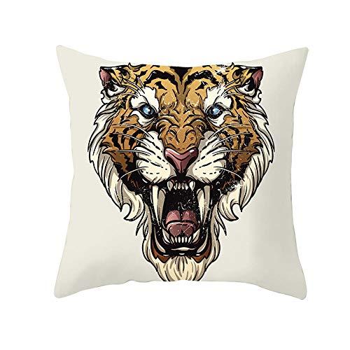 HJKGSX Set de 4 Hogar Fundas Cojines Lino Sofá Throw Cojín Decoración Throw Pillow Case para Sala de Estar sofás Dormitorio Jardín Coche Almohada Caso de la Cubierta 45x45 cm - Tigre Animal