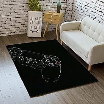 Gamer Rugs for Bedroom Boys Teen Printed Game Gamepad Carpets Living Room Mat Bedroom Area Rugs Home Decor Non-Slip Crystal Floor Polyester Mat 35 x24