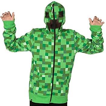 JINX Minecraft Big Boys  Creeper Zip-Up Costume Hoodie with Mask Green Large