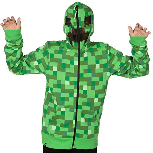 JINX Minecraft Big Boys' Creeper Zip-Up Costume Hoodie, with Mask, Green, X-Small