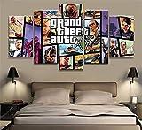 XYZNB ImpresionessobreLienzo 5 Piezas GTA 5 Imágenes De Póster del Juego HD Lienzos Arte De La Sala Decoración del Hogar Pintura (Size_B) Sin Marco