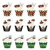 Cupcake Topper de Tarta BETOY 24PCS Wizard Cupcake Topper Cupcake Wrappers Envoltorios de Cupcakes Magdalenas Decoración Party Decor Favors para Decoraciones de Fiesta de cumpleaños