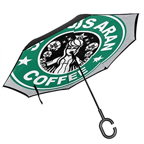 shihuainingxiance Metroid Starhunt Samus Aran Kaffee Double Layer Inverted Umbrella für Auto Reverse Folding Upside Down C-förmige Hände - Lightweight Windproof ndash