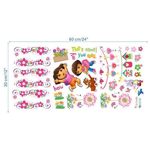Cartoon Dora Laarzen Aap Muurstickers voor Kinderen Kamers Tuin Bloemenstickers