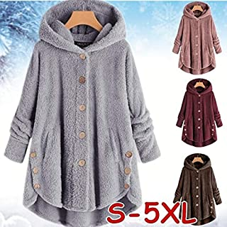 DENG&XUE Women Double-Faced Jacket Outwear Tops Solid Color Plush Hoodies Long Sleeve Hooded Coat Women Loose Warm Faux Fur Cardigan Coat Pocket Shaggy Jacket Long Coat (Ginger,5XL)