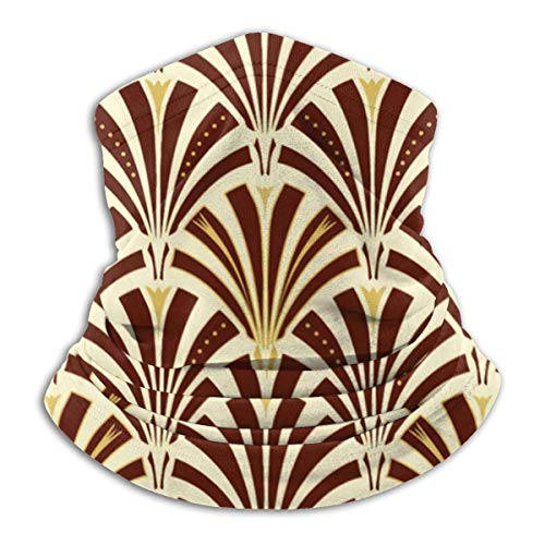Art Deco - Máscara elástica con diseño de abanico de chocolate en crema, multifuncional para el cuello, bufanda, resistente al viento y al polvo