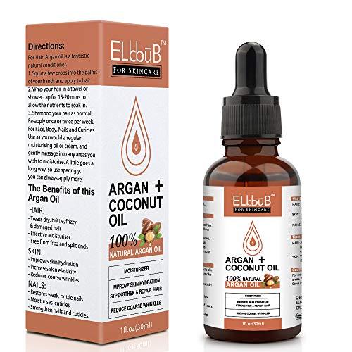 Huile d'Argan Bio & Huile de Noix de Coco - Sérum de Soin Naturel pour Visage, Cheveux, Corps Ongles - Argan Pressée à Froid au Maroc - Hydratante, Riche en Vitamine et Antioxydant - 30 ml
