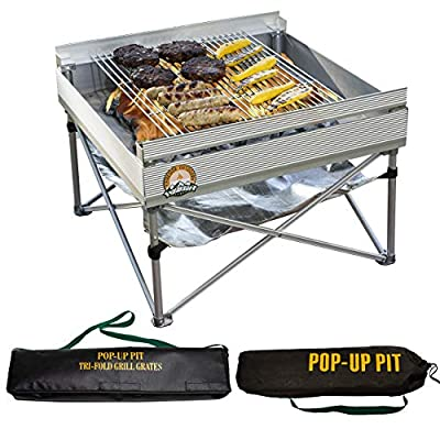 Pop-Up Fire Pit   Portable Outdoor Fire Pit and BBQ Grill   Packs Down Smaller than a Tent   Two Carrying Bags Included   Large Grilling Area (Fire Pit, Heat Shield, and Tri-Fold Grill Included)