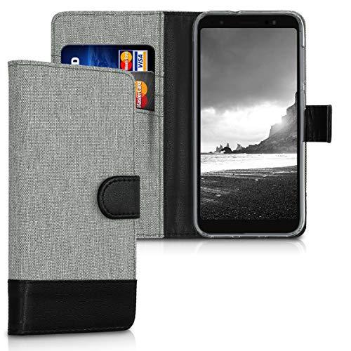kwmobile Asus ZenFone Live (L1) ZA550KL Hülle - Kunstleder Wallet Case für Asus ZenFone Live (L1) ZA550KL mit Kartenfächern & Stand - Grau Schwarz