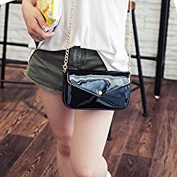 Monique Women Classic Solid Color PU Leather Crossbody Bag Mini Chain Shoulder Bag Envelope Clutch with Zipper Pouch Cards Pocket Black