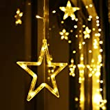 LED Lichterkette 12 Sterne, Lichtervorhang weihnachtslichter Sternenvorhang 138 LEDs 8 Modi Für Innen Außen, Weihnachten, Party, Hochzeit, Garten, Balkon, Deko (Warmweiß) - 8