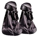 ForceWave 2 Pieces Silky Durag Pack for Men Women Waves, Premium Satin Deluxe Du-rag (Black Black)