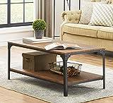 O&K Furniture Industrial Rectangular Coffee Table with Storage Bottom Shelf, Brown,1-Pcs