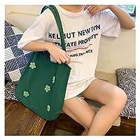 ンス キャンバス トートバッグ 女性キャンバスショルダーバッグブライトデイジーコットン布ハンドバッグ女性フラワーカジュアルトート大容量の買い物袋 贈り物 (Color : Green)