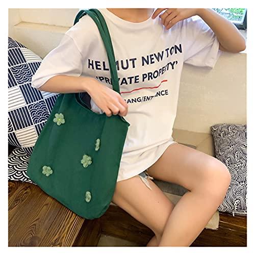 bolsa de lona Bolsa de hombro de la lona de las mujeres Margaritas brillantes de algodón bolso de tela femenino Totes casuales Bolsos de compras de gran capacidad para niñas (Color : Green)