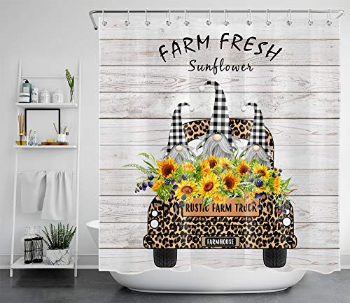 Farmhouse Gnome Shower Curtain Decor, Leopard-Print Farm Truck with Loads of Sunflowers on Country Rustic Wood Bathroom Shower Curtain, Waterproof Polyester Bath Curtain with Hooks, 69x70 inches