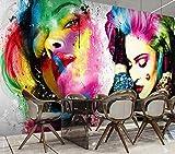 Custom 3D Wallpaper Mural Watercolor Art Graffiti Beauty Salon Shop Personality Hair Salon Bar Background Wall Decoration-340X210CM