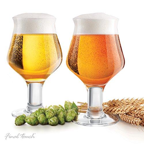 Final Touch Craft-Bier-Gläser, V-förmig mit Stiel, 600 ml, 2er-Set, Nr. GG5019