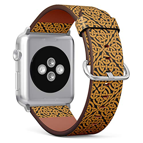 [ Compatible Small Apple Watch 38/40 mm ] Replacement Leather Band Bracelet Strap Wristband Accessory // Celtic Knot Infinity Pattern