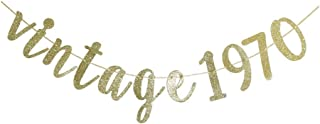 Vintage 1970 Banner, 50th Birthday Party Sign, Gold Glitter Wedding Anniversary Party Decorations