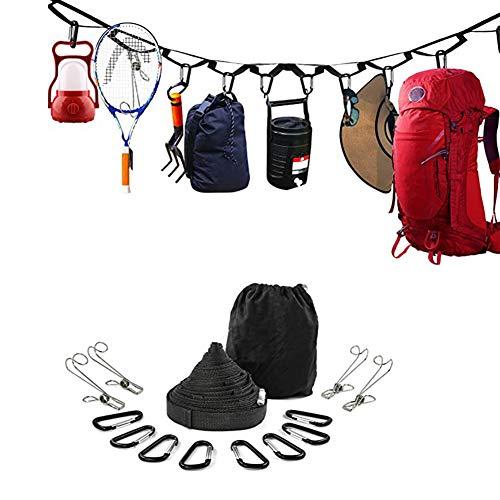 HAOXIU Cuerda para tender de camping con 19 anillas, ajustable, para exteriores, con hebilla de liberación rápida