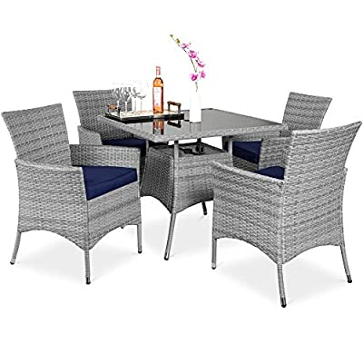 Best Choice Products 5-Piece Indoor Outdoor Wicker Dining Set Furniture for Patio, Backyard w/Square Glass Tabletop, Umbrella Cutout, 4 Chairs - Navy
