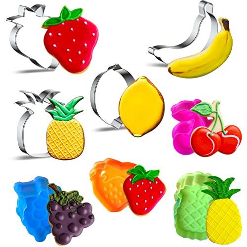 Zestaw 4 foremek do wykrawania ciastek ze stali nierdzewnej i 4 plastikowe foremki do wykrawania masy cukrowej z cytryną, truskawką, anananasem, bananem, wiśnią i winogroną