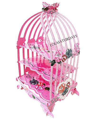 LolaSaturdays Birdcage 3 tier pastry cupcake stand (pink)