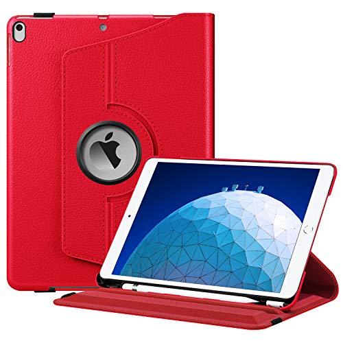 Fintie Rotating Case for iPad Air (3rd Gen) 10.5' 2019 / iPad Pro 10.5' 2017-360 Degree Rotating Stand Protective Cover with Built-in Pencil Holder, Auto Sleep/Wake (Red)