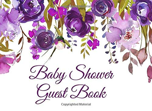 Image OfBaby Shower Guest Book: Purple Floral Baby Shower Guest Book And Gift Log For A Girl