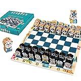 LYDJ Juego de Tablero de Ajedrez de Madera Incluye Tablero de ajedrez y 32 Piezas de ajedrez Dibujos Animados Tablero de Ajedrez para Niños Adultos, para Actividades Familiares de Fiesta