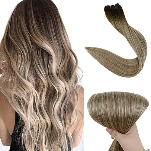 Fshine 20 Inch Weave Bundles Straight Real Human Hair Extensions Hair Weft 100 Gram Per Piece Double Weft Hair Extensions Color 3 Dark Brown Fading To 8 Ash Brown and 22 Blonde Sew In Hair