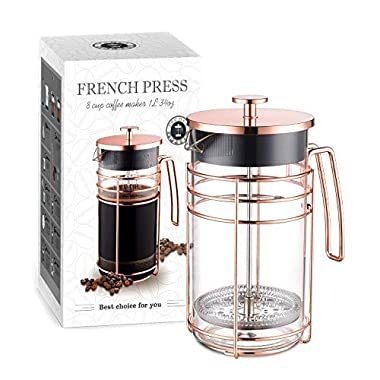AmoVee French Press Coffee Maker Tea Maker with 304 Stainless Steel and Heat Resistant Borosilicate Glass, Bonus Stainless Steel Screen and Measuring Spoon Included, 1 Liter 34 oz, Rose Gold
