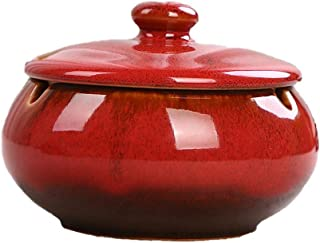 DaoRier Windproof Table Ashtray Ceramic Ashtray with lid for Inside or Outside, 11x8CM, red, Ceramic