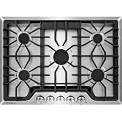 """4 Sealed Burners Continuous Cast Iron Grates 450 To 18,000-BTU Center Burner Dimensions (WHD) 30"""""""" X 5"""" X 21 3/4"""""""