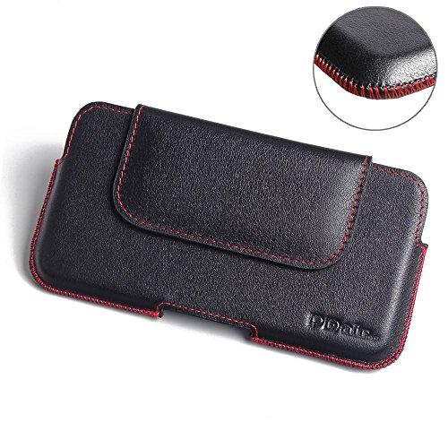PDAir Oppo R7 Plus Echtleder Handyhülle Tasche (Rot Stich), Leder Tasche mit Gürtelclip, Gürtel Hülle Handyhülle Hülle, Handarbeit Halfter Tasche Für Oppo R7 Plus