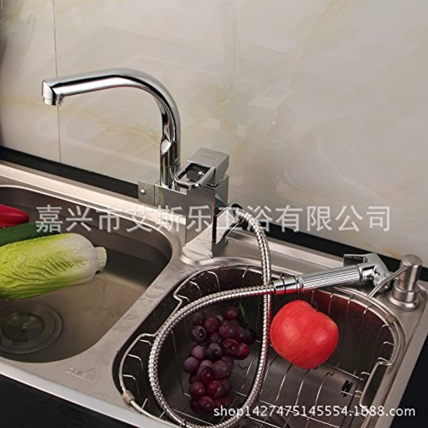 Commercial Single Lever Pull Down Kitchen Sink Faucet Brass Constructed Polished Kitchen Faucet Foreign Trade Hot Pull Faucet Copper Kitchen Faucet Hot and Cold Dishes A Generation