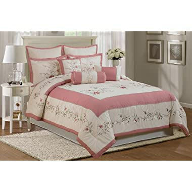 Chezmoi Collection 7-Piece Embroidery Rose Comforter Set, California King, Ivory Pink