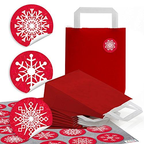 10 petits sacs papier rouges avec fond papier poches anse (18 x 8 x 22 cm) + 24 rondes Blanc Rouge autocollants autocollants de Noël Flocon de Neige Glace cristal motifs Noël Emballage de Give Away